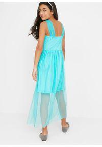 Sukienka dziewczęca ze sztrasami bonprix morski. Kolor: niebieski