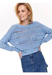 Niebieski sweter TOP SECRET na co dzień, elegancki, w ażurowe wzory