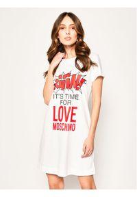 Biała sukienka Love Moschino prosta, na co dzień