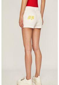 Karl Lagerfeld Denim - Szorty jeansowe. Stan: podwyższony. Kolor: biały. Materiał: jeans, denim. Wzór: aplikacja