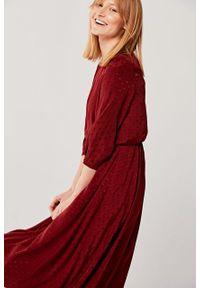 Marie Zélie - Sukienka Livia Pulita. Materiał: żakard, bawełna, wiskoza, materiał, tkanina, skóra. Wzór: grochy, aplikacja. Sezon: jesień. Długość: midi