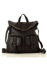 Torebka plecak 2w1 czarny MARCO MAZZINI v139a. Kolor: czarny. Wzór: paski. Materiał: skórzane. Styl: vintage. Rodzaj torebki: na ramię