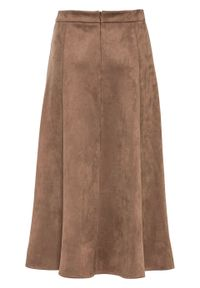 Spódnica ze sztucznej skóry zamszowej bonprix brunatny. Kolor: brązowy. Materiał: zamsz, skóra