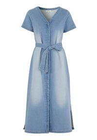 Niebieska sukienka Cellbes maxi, z dekoltem w serek
