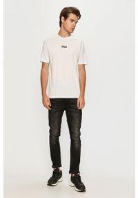 Biały t-shirt Fila casualowy, z nadrukiem, z okrągłym kołnierzem
