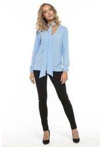 Niebieska bluzka z długim rękawem Tessita elegancka, z dekoltem w serek