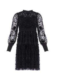NEEDLE & THREAD - Czarna sukienka Whitethorn. Okazja: na imprezę. Kolor: czarny. Materiał: tiul, materiał. Wzór: kwiaty, haft, aplikacja. Typ sukienki: w kształcie A. Styl: elegancki, vintage