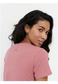 outhorn - Gładki t-shirt damski. Materiał: bawełna, jersey, elastan. Wzór: gładki