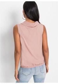 Bluzka bez rękawów bonprix różowobrązowy. Kolor: różowy. Długość rękawa: bez rękawów