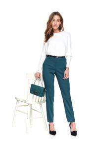 TOP SECRET - Sweter długi rękaw damski luźny. Okazja: do pracy. Kolor: biały. Materiał: prążkowany, tkanina. Długość rękawa: długi rękaw. Długość: długie. Sezon: wiosna