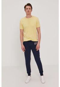 Żółty t-shirt Strellson gładki, na co dzień, casualowy