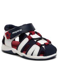 Mayoral - Sandały MAYORAL - 41.298 Bco Marino 83. Kolor: biały, niebieski, wielokolorowy. Materiał: skóra, materiał