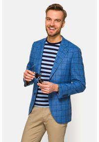 Lancerto - Marynarka Niebieska w Kratę Masada. Kolor: niebieski. Materiał: jeans, wiskoza, elastan, tkanina, poliester. Wzór: ze splotem, kolorowy. Sezon: lato, wiosna