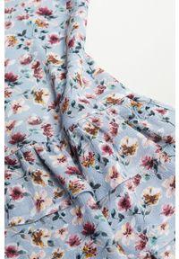 Niebieska sukienka Mango Kids rozkloszowana, w kwiaty, z długim rękawem, mini