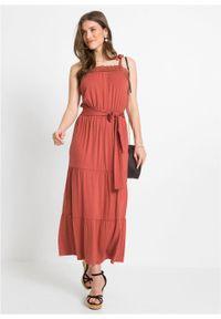 Długa sukienka bonprix brązowy marsala. Kolor: czerwony. Materiał: koronka. Wzór: koronka. Długość: maxi