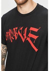 Czarny t-shirt Diesel casualowy, na co dzień, z nadrukiem