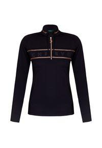 Czarny sweter Chervo z golfem, raglanowy rękaw, z aplikacjami, krótki
