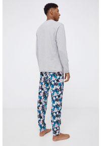 United Colors of Benetton - Longsleeve piżamowy. Kolor: szary. Materiał: dzianina. Długość: długie. Wzór: nadruk