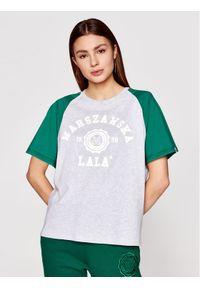PLNY LALA T-Shirt Warszawska Lala PL-KO-S5-00007 Szary Relaxed Fit. Kolor: szary