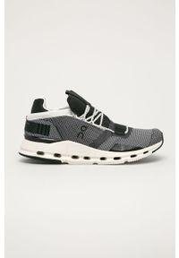 Czarne buty sportowe On Running do biegania, na sznurówki, z okrągłym noskiem