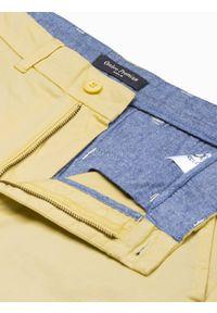Ombre Clothing - Krótkie spodenki męskie casual W243 - żółte - XXL. Okazja: na co dzień. Kolor: żółty. Materiał: bawełna, elastan. Długość: krótkie. Sezon: lato. Styl: casual