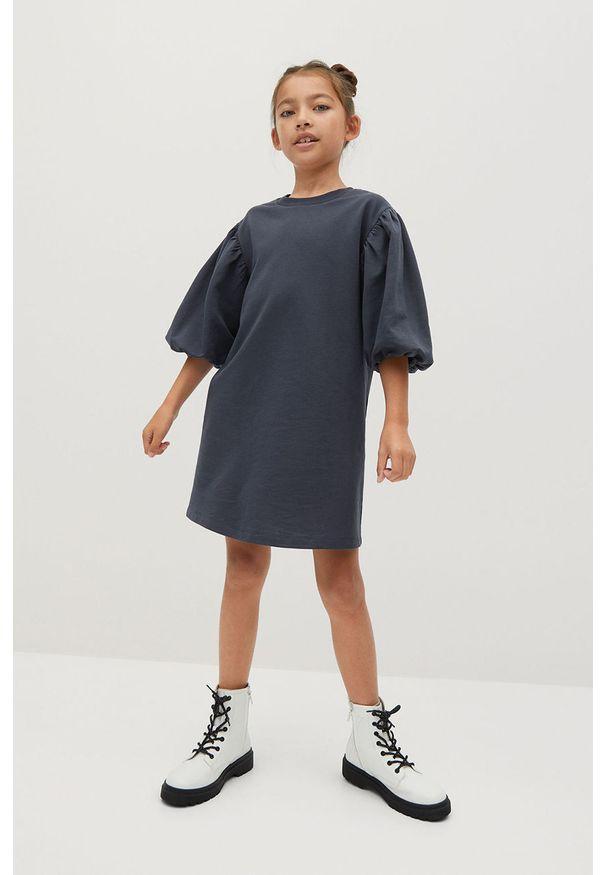 Szara sukienka Mango Kids casualowa, z okrągłym kołnierzem, prosta