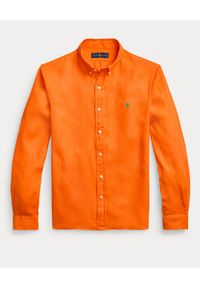 Ralph Lauren - RALPH LAUREN - Pomarańczowa koszula z lnu Slim Fit. Typ kołnierza: button down, polo. Kolor: pomarańczowy. Materiał: len. Długość rękawa: długi rękaw. Długość: długie. Wzór: haft #4