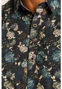 Niebieska koszula medicine długa, klasyczna, w kwiaty