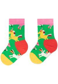 Zielone skarpetki Happy-Socks w kolorowe wzory