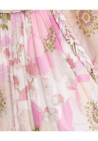 ZIMMERMANN - Różowa sukienka z jedwabiu. Kolor: różowy, fioletowy, wielokolorowy. Materiał: jedwab. Wzór: ze splotem, kwiaty, aplikacja. Sezon: wiosna. Typ sukienki: rozkloszowane