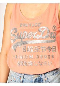 Superdry Top Metallic Classic Vest W6010001A Pomarańczowy Regular Fit. Kolor: pomarańczowy