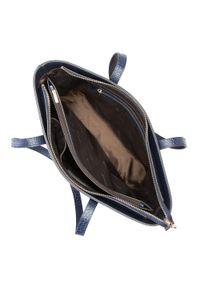 Wittchen - Torebka shopperka skórzana trapezowa. Kolor: niebieski. Dodatki: z breloczkiem. Materiał: skórzane. Styl: elegancki, casual. Rodzaj torebki: na ramię