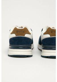 Niebieskie sneakersy Polo Ralph Lauren z okrągłym noskiem, na sznurówki, z cholewką