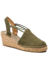 Zielone sandały Toni Pons na średnim obcasie, na obcasie