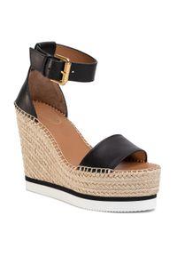 Czarne sandały See By Chloé casualowe, na obcasie, na średnim obcasie