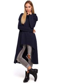 MOE - Granatowa Asymetryczna Tunika z Wywijanym Kołnierzem. Kolor: niebieski. Materiał: bawełna. Typ sukienki: asymetryczne
