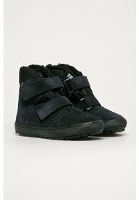 Niebieskie buty zimowe Mrugała z okrągłym noskiem, z cholewką, na zimę
