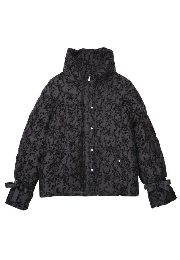 Czarna kurtka TOP SECRET krótka, w kwiaty, elegancka