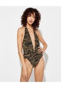 Camilla - CAMILLA - Body z głębokim dekoltem i kryształami. Okazja: na imprezę. Typ kołnierza: dekolt halter. Kolor: brązowy. Materiał: materiał, jeans, elastan. Wzór: nadruk. Sezon: lato