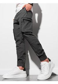 Ombre Clothing - Spodnie męskie joggery P960 - grafitowe - XXL. Kolor: szary. Materiał: materiał, bawełna