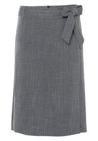 Spódnica kopertowa bonprix czarno-biały melanż. Kolor: czarny. Wzór: melanż