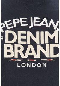 Pepe Jeans - Bluza bawełniana Harrison. Okazja: na co dzień. Kolor: niebieski. Materiał: bawełna. Wzór: nadruk. Styl: casual