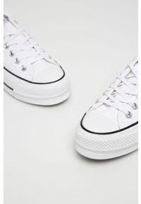 Białe tenisówki Converse na platformie, z cholewką, z okrągłym noskiem