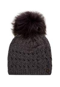 Szara czapka Granadilla na zimę, z aplikacjami