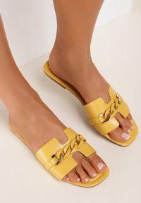 Renee - Żółte Klapki Gathenis. Kolor: żółty