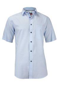 Niebieska elegancka koszula Jurel na spotkanie biznesowe, z krótkim rękawem, krótka