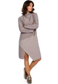 MOE - Szara Asymetryczna Sukienka z Golfem. Typ kołnierza: golf. Kolor: szary. Materiał: bawełna, poliester. Typ sukienki: asymetryczne