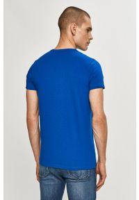 Pepe Jeans - T-shirt Orginal Stretch. Okazja: na co dzień. Kolor: niebieski. Materiał: dzianina. Wzór: nadruk. Styl: casual