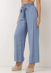 Born2be - Niebieskie Spodnie Szerokie Pheriko. Kolor: niebieski. Materiał: tkanina, wiskoza, materiał, guma. Długość: długie. Sezon: lato