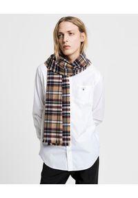 GANT - Biała bawełniana koszula z logo marki. Kolor: biały. Materiał: bawełna. Długość rękawa: długi rękaw. Długość: długie. Styl: elegancki